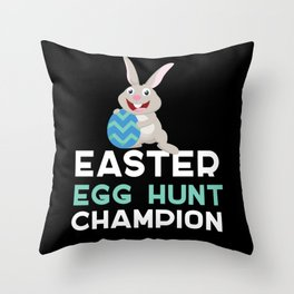 Egg Hunt Champion Bunny Easter Rabbit Bunny Throw Pillow