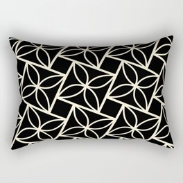 STACK attractive black & off-white squares with floral motif Rectangular Pillow