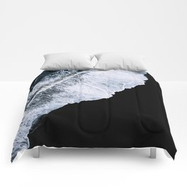 Waves crashing on a black sand beach – minimalist Landscape Photography Comforters