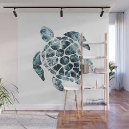 Sea Turtle - Turquoise Ocean Waves Wall Mural