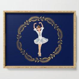 The Nutcracker Christmas Special - Nutcracker Scene - Ballerina dance in Golden Christmas Wreath (Royal Blue) Serving Tray