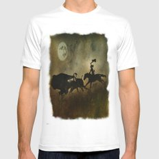 Night Hunter MEDIUM White Mens Fitted Tee