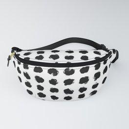 Black and White Minimal Minimalistic Polka Dots Brush Strokes Painting Fanny Pack
