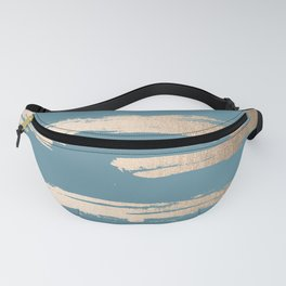 Abstract Painted Stripes Gold Tropical Ocean Blue Fanny Pack