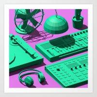Low Poly Studio Objects 3D Illustration Art Print