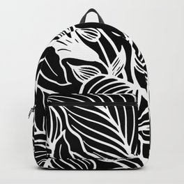 Black And White Floral Minimalist Backpack