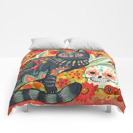 Dia De Los Muertos Cat Comforters