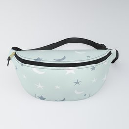 Baby blue background with blue and white moon and star pattern Fanny Pack