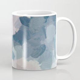 Mint Aqua Navy Indigo Blue Blush Pink Abstract Painting, Modern Wall Art Paint Strokes Random Coffee Mug