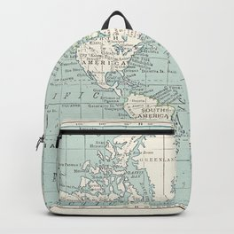 World Map in Blue and Cream Backpack