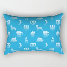 Oktoberfest Bavarian October Beer Festival Motifs in Bavarian Blue Rectangular Pillow