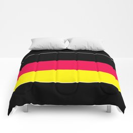 Striped , black , yellow , red Comforters