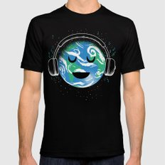 The whole planet loves music Mens Fitted Tee Black MEDIUM