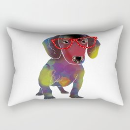 hipster dachshund Rectangular Pillow