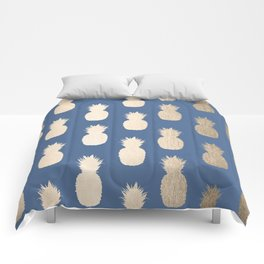 Gold Pineapples on Aegean Blue Comforters