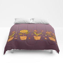 colorful four zen pots with doodle flowers Comforters