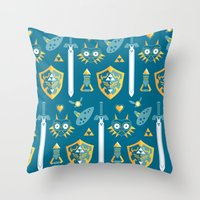 arsenal Throw Pillows featuring A Hero's Arsenal by Casa del Kables