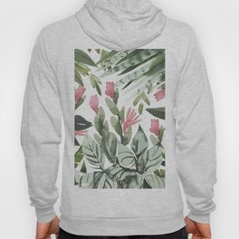 Forest green pink tropical summer watercolor floral Hoody