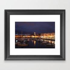 Ponta Delgada at night Framed Art Print