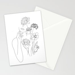 Minimal Line Art Woman with Flowers III Stationery Cards