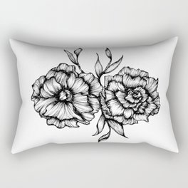 Two Inked Flowers Rectangular Pillow
