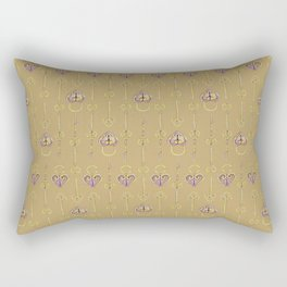 Purple and gold keys and padlocks antique style pattern Rectangular Pillow