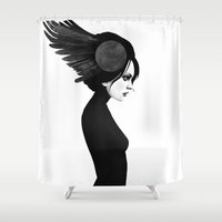 amy pond Shower Curtains featuring Amy by Ruben Ireland