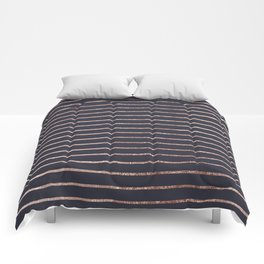 Elegant Chic Rose Gold Stripes and Navy Blue Comforters