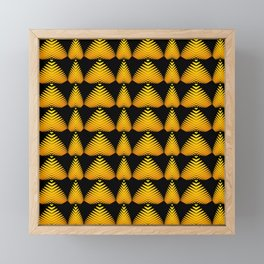 Alternating pattern of yellow hearts and stripes on a black background. Framed Mini Art Print
