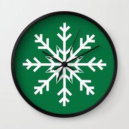 Designer Snowflake Green Background Wall Clock