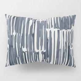 Simply Bamboo Brushstroke Indigo Blue on Lunar Gray Pillow Sham