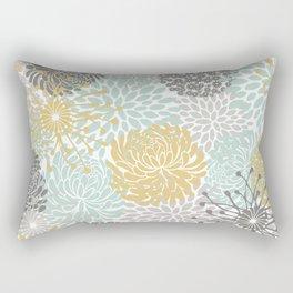 Floral Abstract Print, Yellow, Gray, Aqua Rectangular Pillow