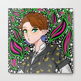 magical elf girl in kawaii floral pattern ecopop Metal Print