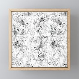 lily sketch black and white pattern Framed Mini Art Print