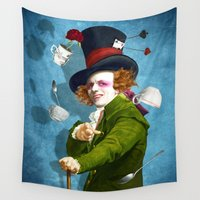 mad hatter Wall Tapestries featuring Mad Hatter by Diogo Verissimo