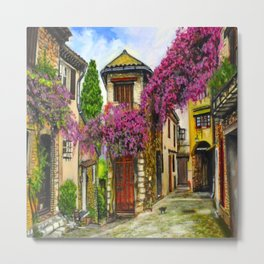 Courtyard in Provence Metal Print