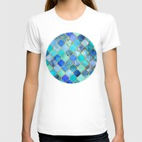 gold T-shirts featuring Cobalt Blue, Aqua & Gold Decorative Moroccan Tile Pattern by micklyn