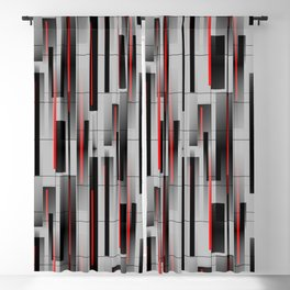 Off the Grid - Abstract - Gray, Black, Red Blackout Curtain