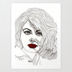 Sophia with Red Lips Art Print
