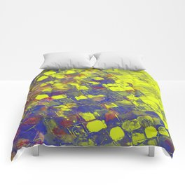 Take The First Step - Abstract, blue and yellow pattern Comforters