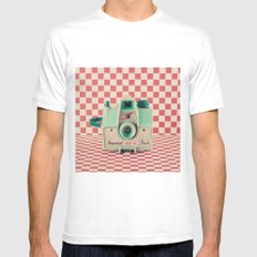 Mint Retro Camera on Red Chequered Background  Mens Fitted Tee MEDIUM White