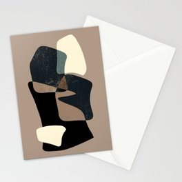 Clay Shapes Black, Teal and Offwhite Stationery Cards
