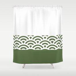 Rainbow Trim Forest Dark Green Shower Curtain