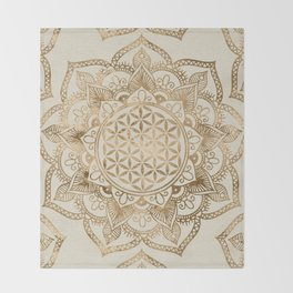 Flower of Life in Lotus - pastel golds and canvas Throw Blanket