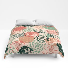 Stamped Succulents Comforters