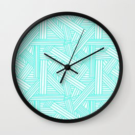 Sketchy Abstract (Turquoise & White Pattern) Wall Clock