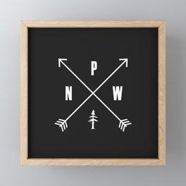 PNW Pacific Northwest Compass - White on Black Minimal Framed Mini Art Print