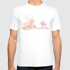 Watercolor landscape illustration_Egypt Mens Fitted Tee White MEDIUM