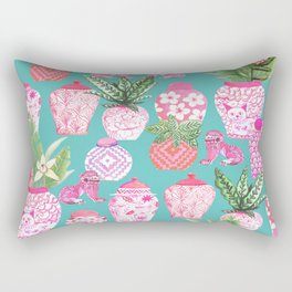 Pink Chinese ginger jars on teal with calathea plants and palms Rectangular Pillow