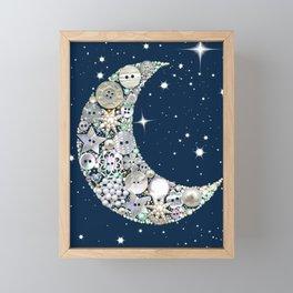 Vintage button Moon Framed Mini Art Print